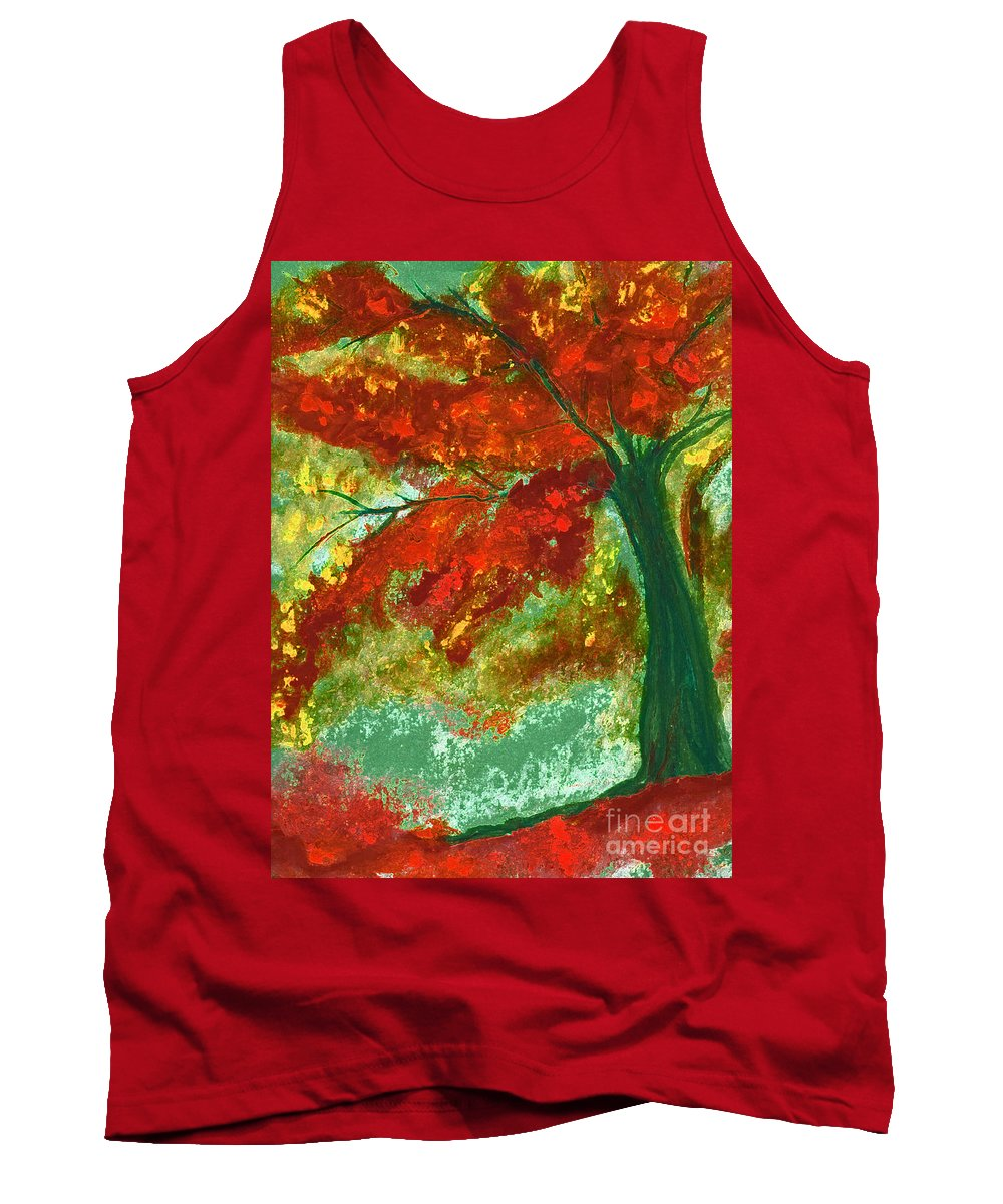 Four Seasons Tank Top featuring the painting Fall Impression By Jrr by First Star Art