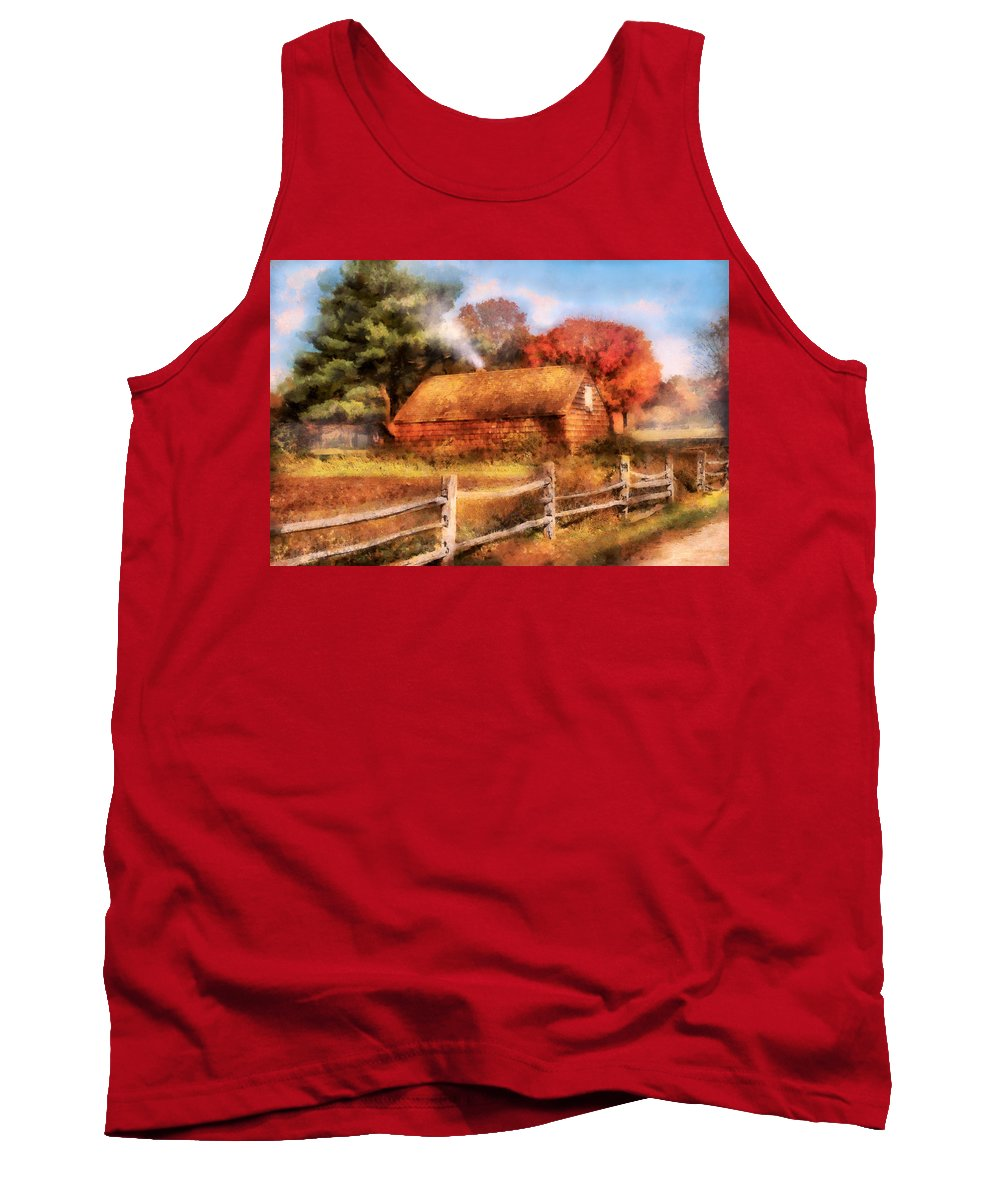 Savad Tank Top featuring the digital art Farm - Barn - Our Cabin by Mike Savad