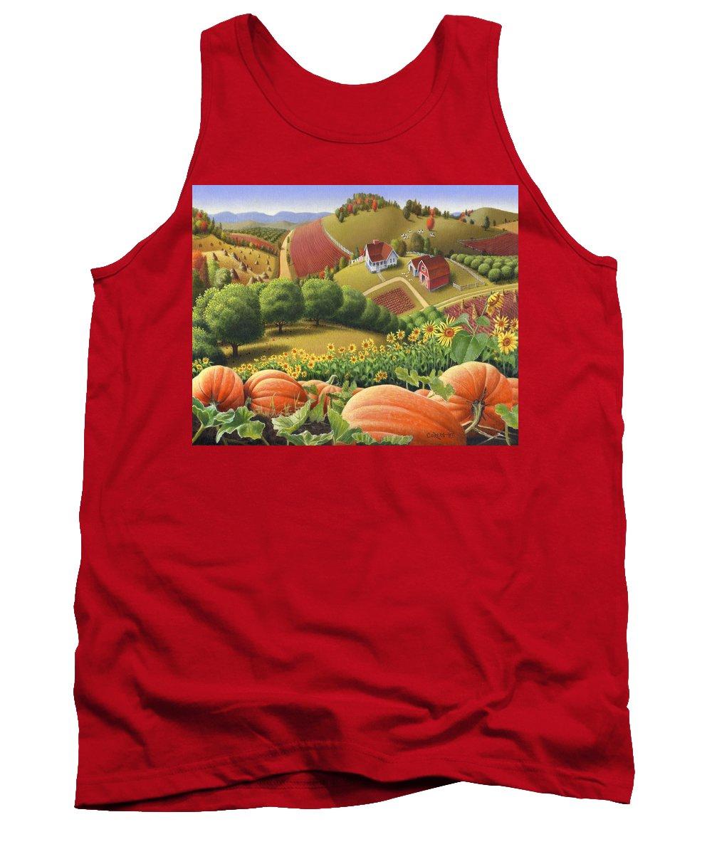 Pumpkin Tank Top featuring the painting Farm Landscape - Autumn Rural Country Pumpkins Folk Art - Appalachian Americana - Fall Pumpkin Patch by Walt Curlee