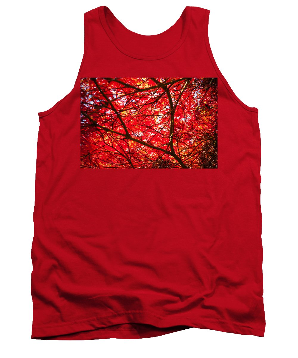Maple Tank Top featuring the photograph Fiery Maple Veins by Tikvah's Hope