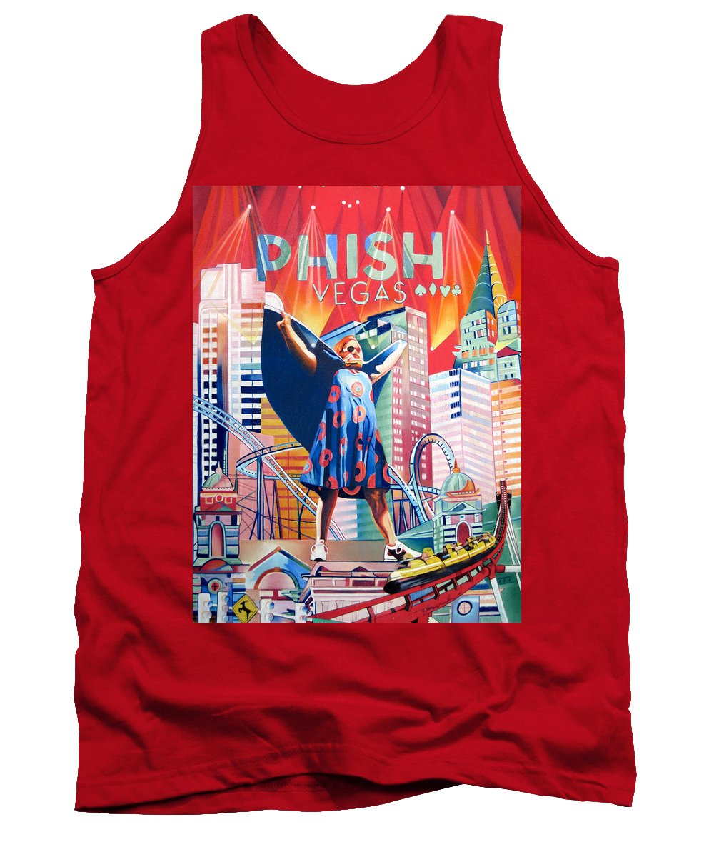 Phish Tank Top featuring the drawing Fishman In Vegas by Joshua Morton