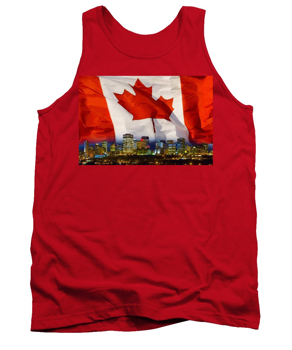 Alberta Tank Top featuring the photograph Flag Of Canada Over Albertas Capital by Corey Hochachka