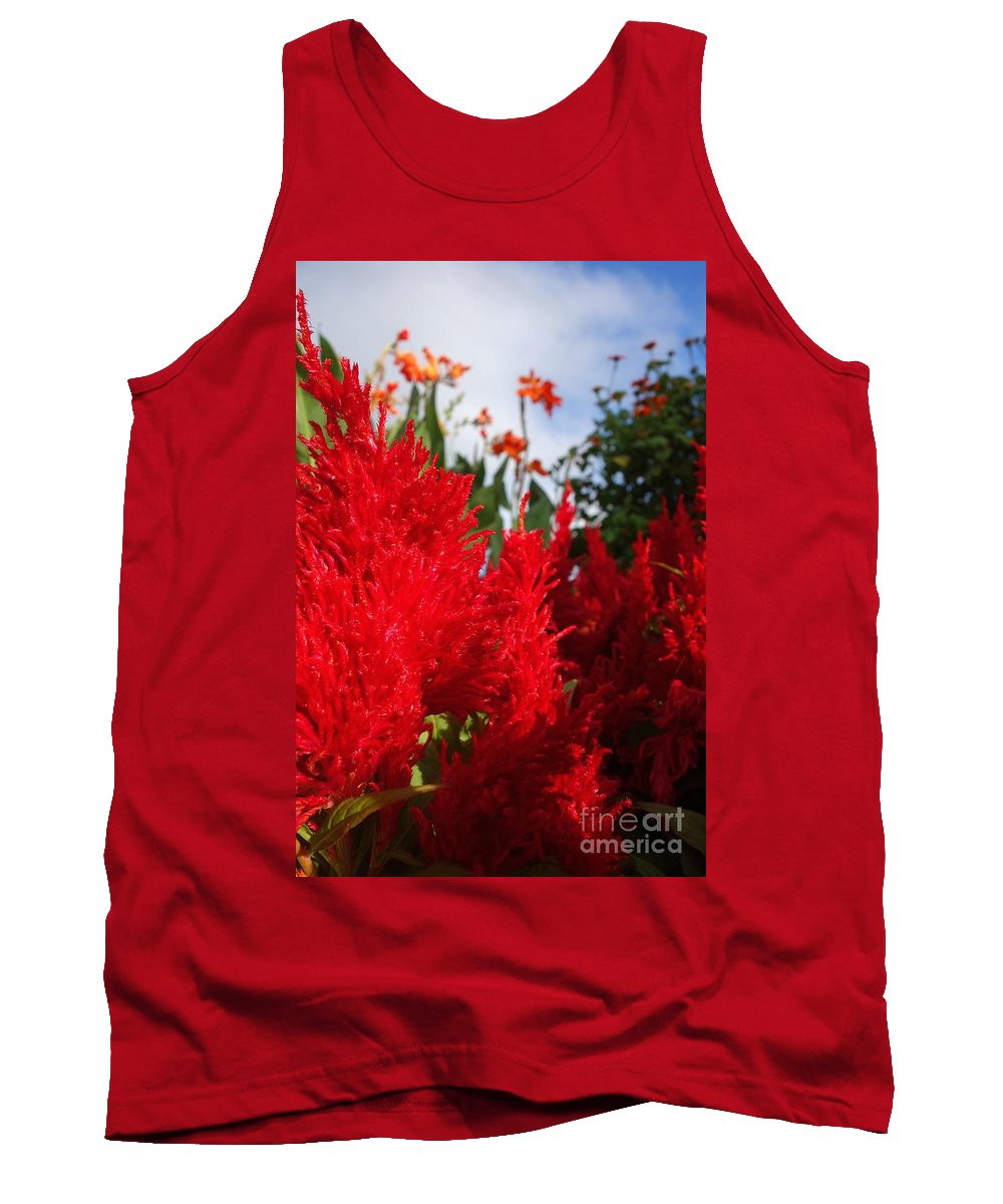 Flaming Feathered Flower Tank Top featuring the photograph Flaming Feathered Flower Power by Jacqueline Athmann