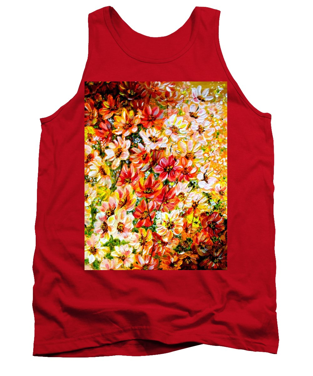 Abstract Daises Tank Top featuring the painting Floral Abstract by Karin Dawn Kelshall- Best