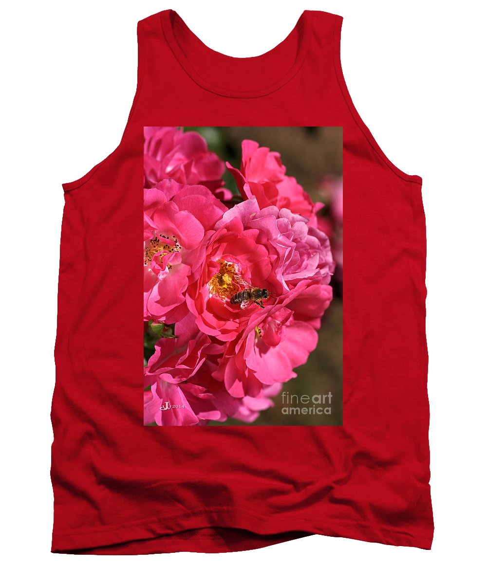 Flower Tank Top featuring the photograph Flowers-roses-pink-bee by Joy Watson