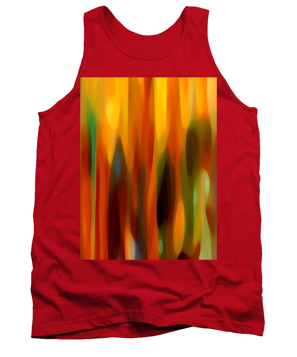 Abstract Tank Top featuring the painting Forest Sunlight Vertical by Amy Vangsgard