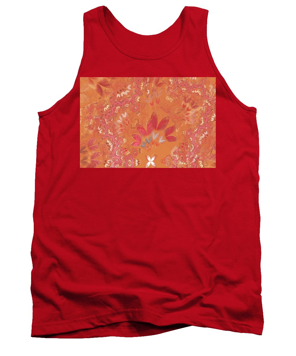 Abstract Tank Top featuring the digital art Fractal - Abstract - Japanese Motif by Mike Savad