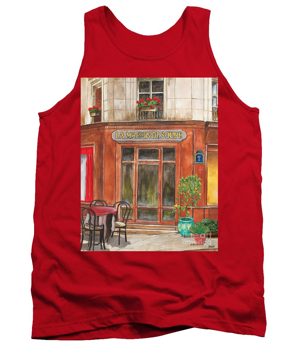 Restaurant Tank Top featuring the painting French Storefront 1 by Debbie DeWitt