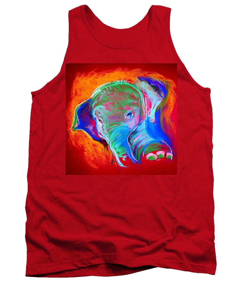 Elephant Tank Top featuring the painting Funky Baby Elephant Blue by Sue Jacobi