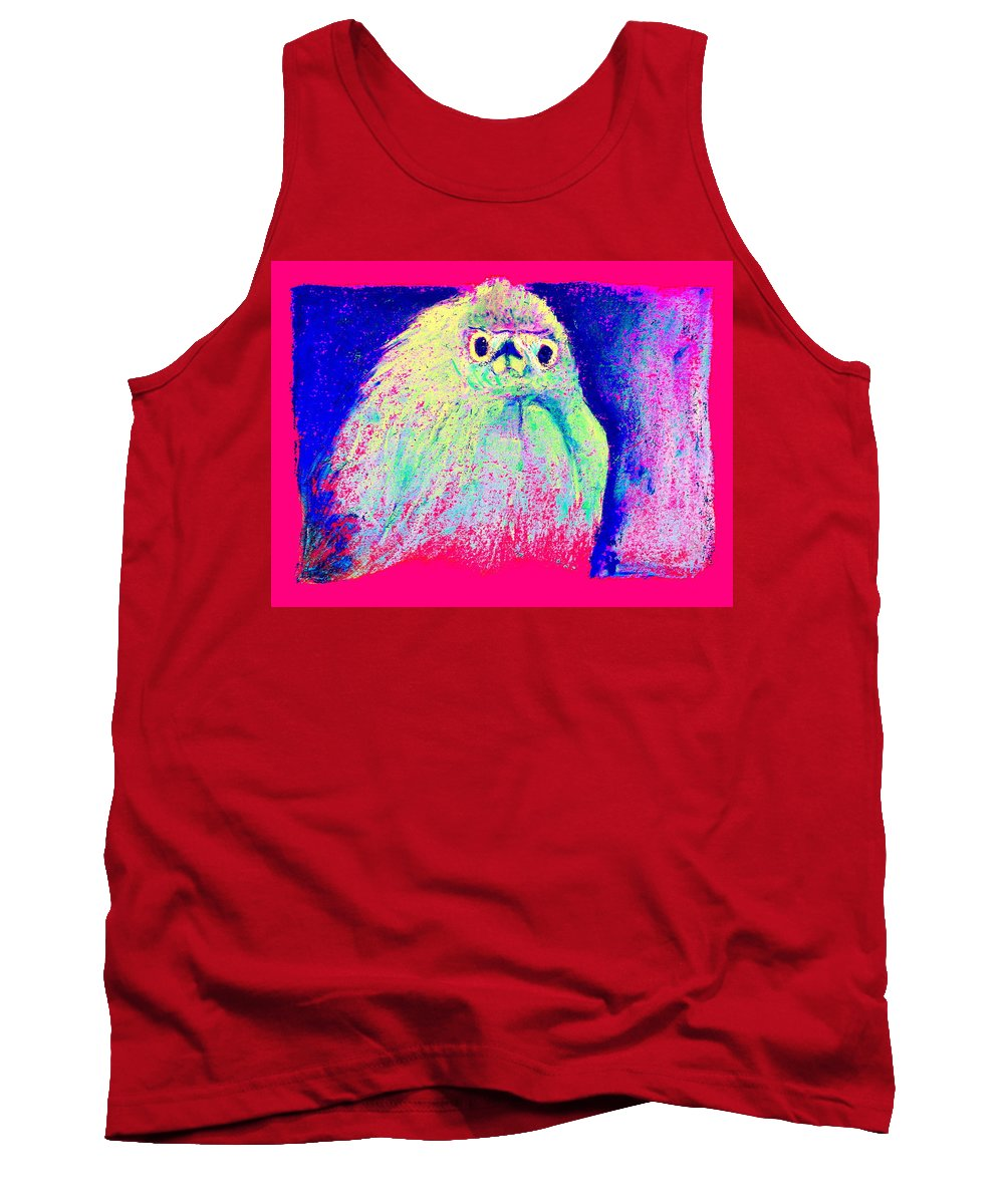 Egret Tank Top featuring the painting Funky Snowy Egret Bird Art Prints by Sue Jacobi