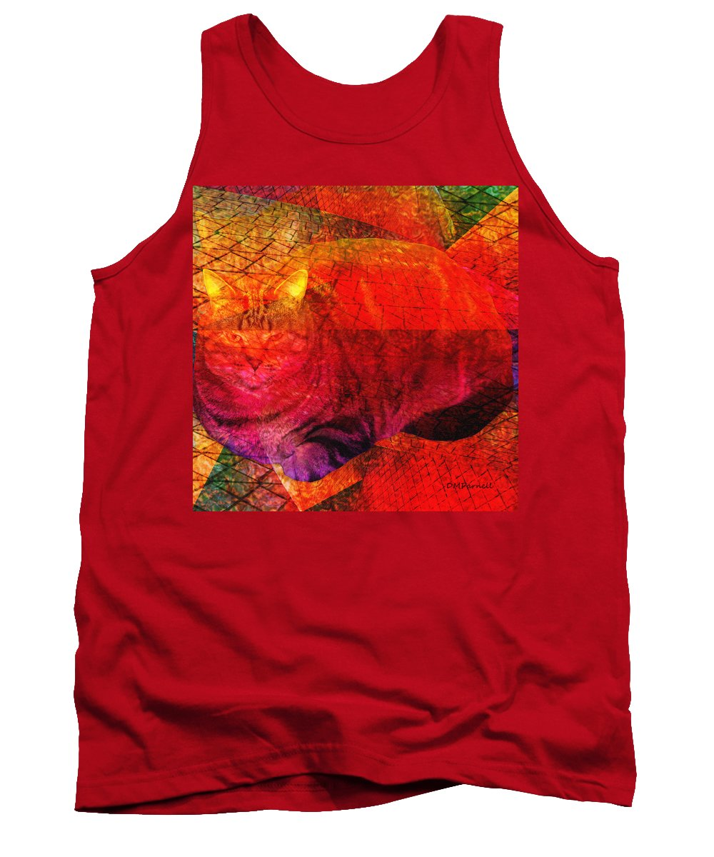 Cat Tank Top featuring the digital art Geometric Kitty by Diane Parnell