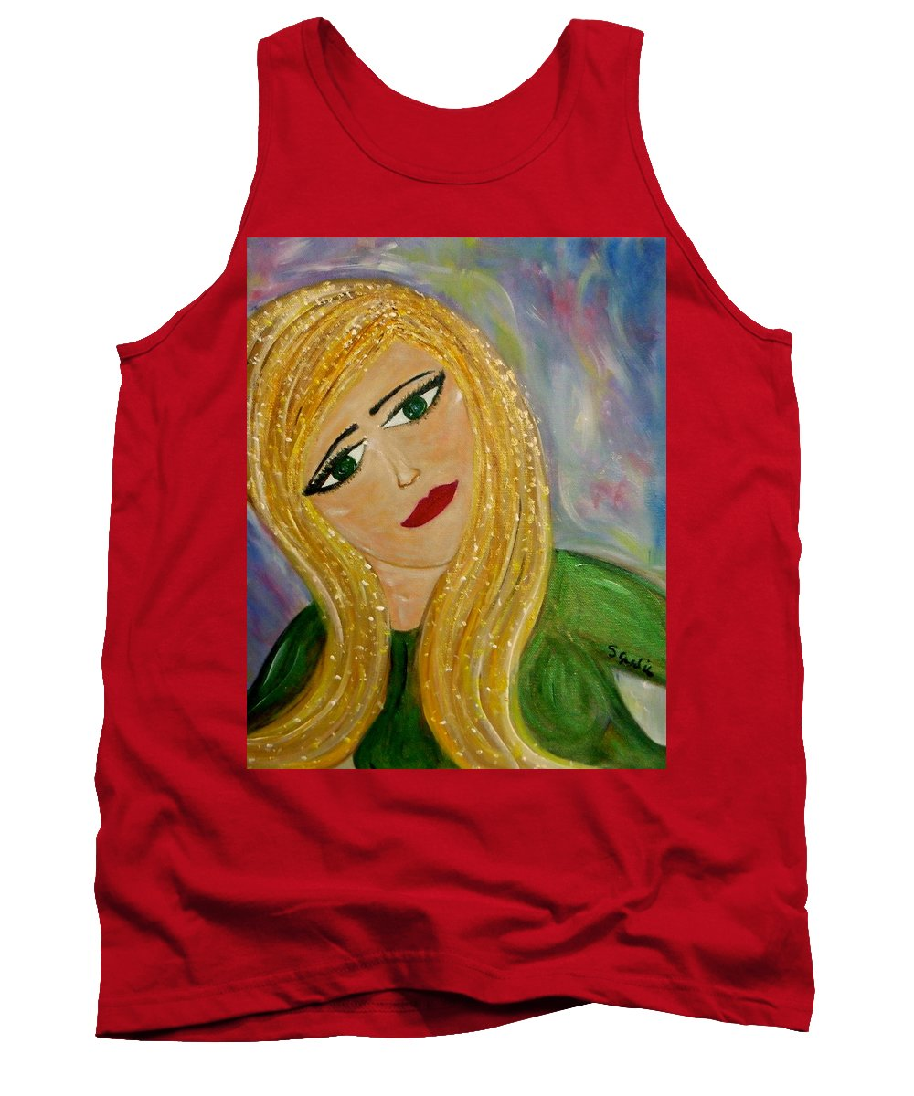 Whimsical Female Figure Tank Top featuring the painting Gina Nevaeh by Sara Credito