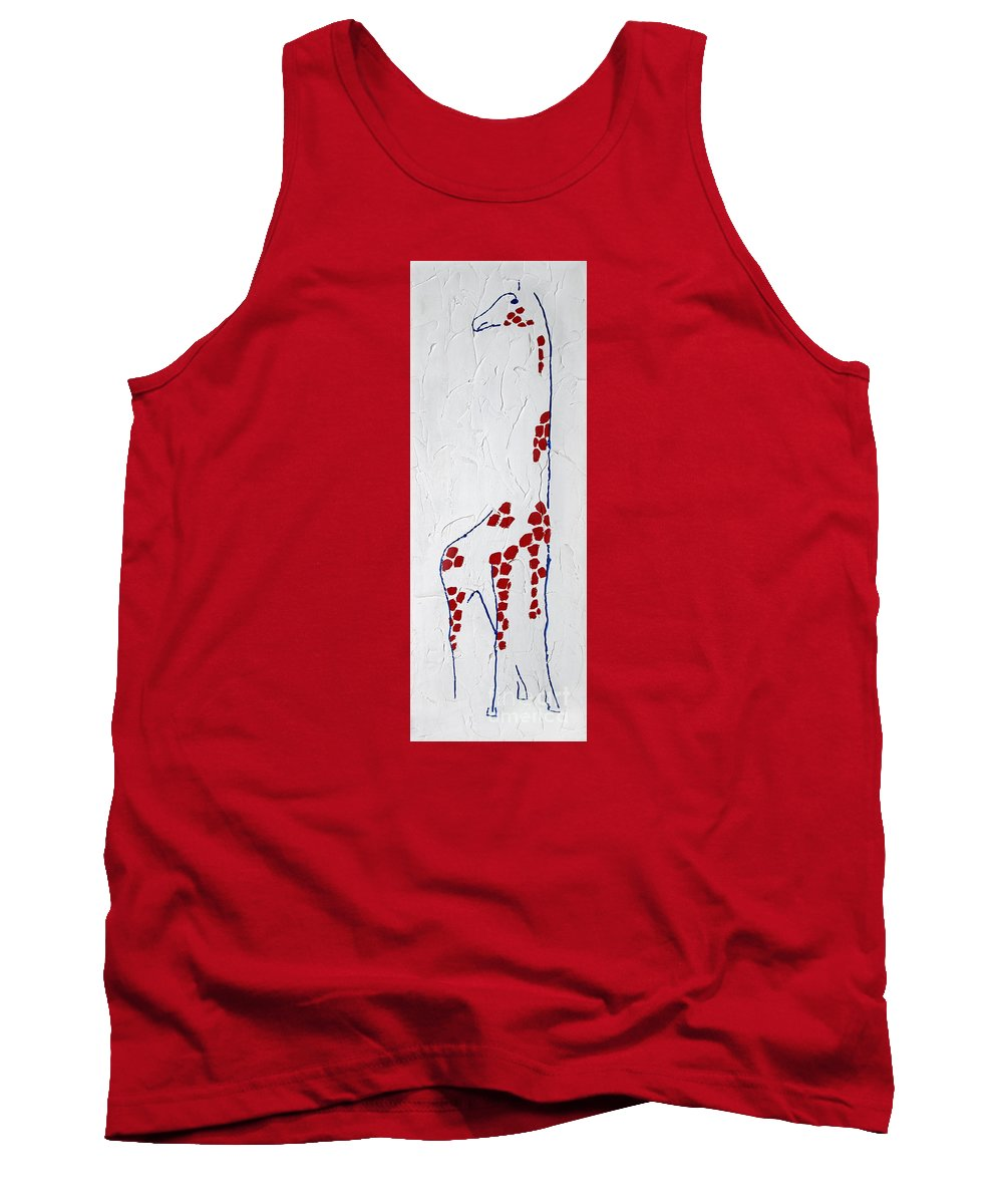 Animal Tank Top featuring the painting Giraffe Abstract by Karen Adams