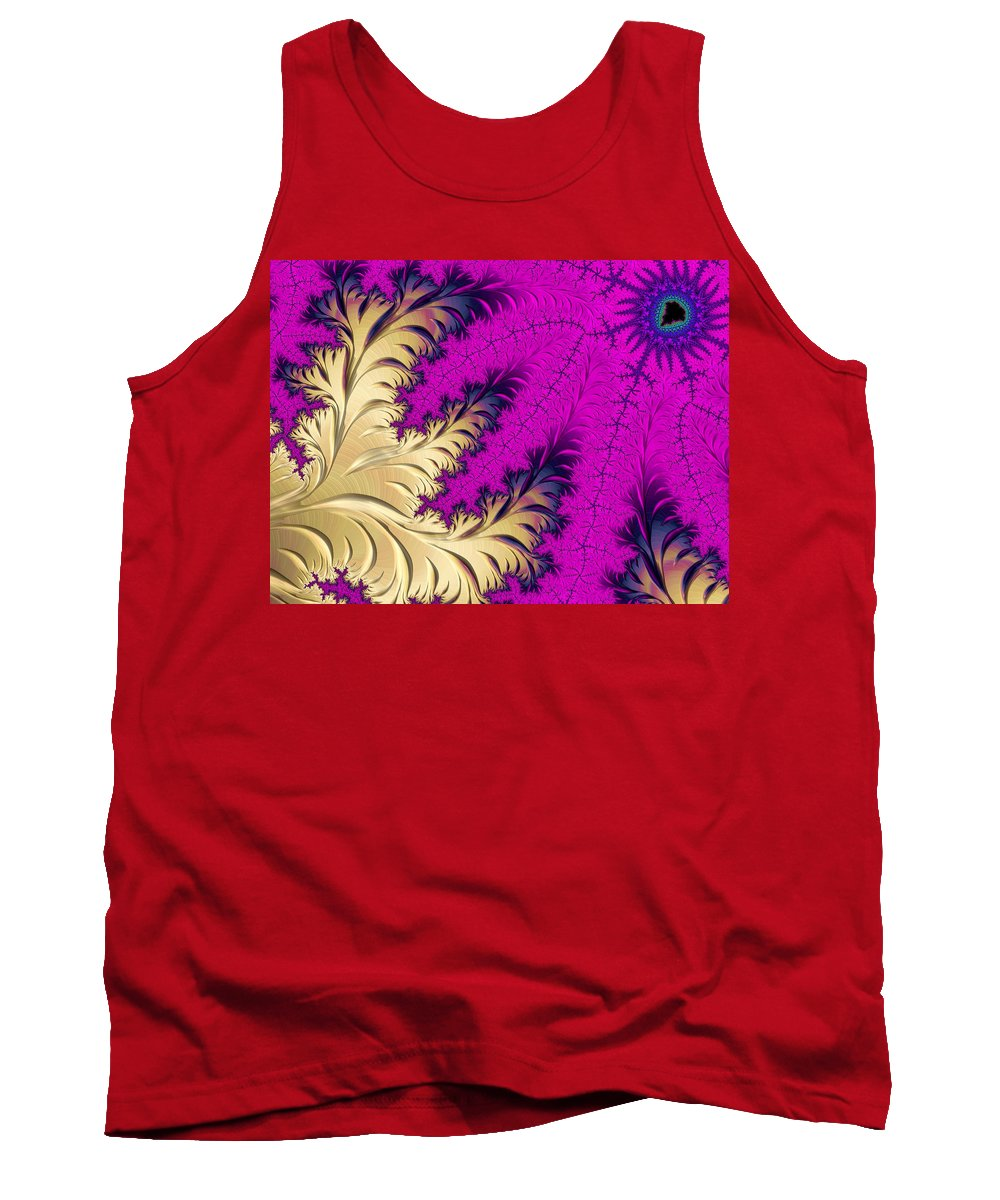 Purple Tank Top featuring the photograph Golden Leaves On Flower by Sharon M Connolly