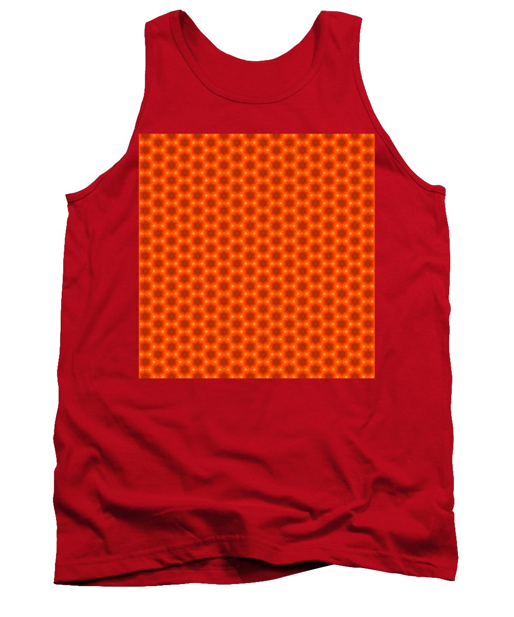 Orange Tank Top featuring the digital art Golden Orange Honeycomb Hexagon Pattern by Shelley Neff