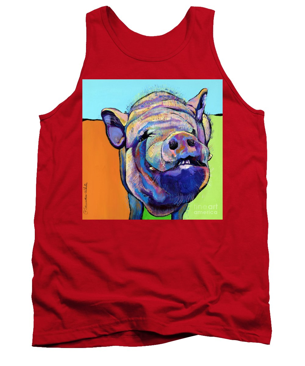 Pat Saunders-white Canvas Prints Tank Top featuring the painting Grunt  by Pat Saunders-White