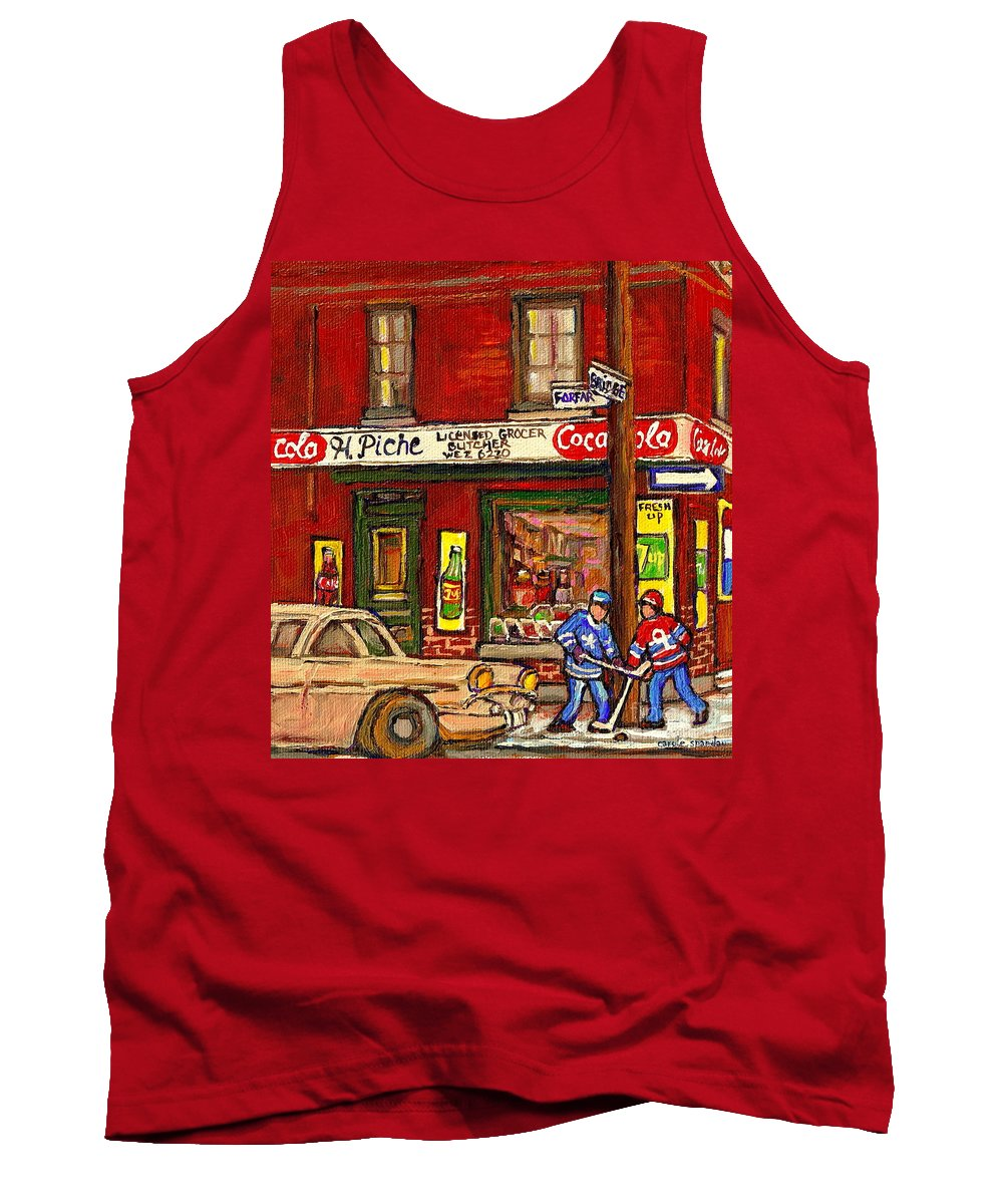 Piche's Corner Grocery Store Tank Top featuring the painting H. Piche Grocery - Goosevillage -paintings Of Montreal History- Neighborhood Boys Play Street Hockey by Carole Spandau