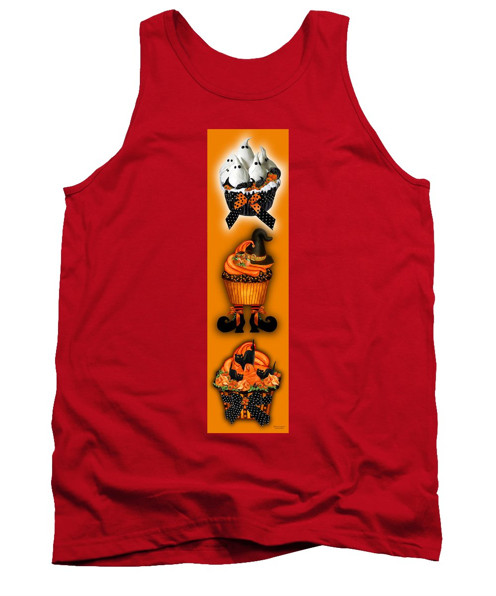 Halloween Art Tank Top featuring the mixed media Halloween Cupcakes - Orange by Carol Cavalaris