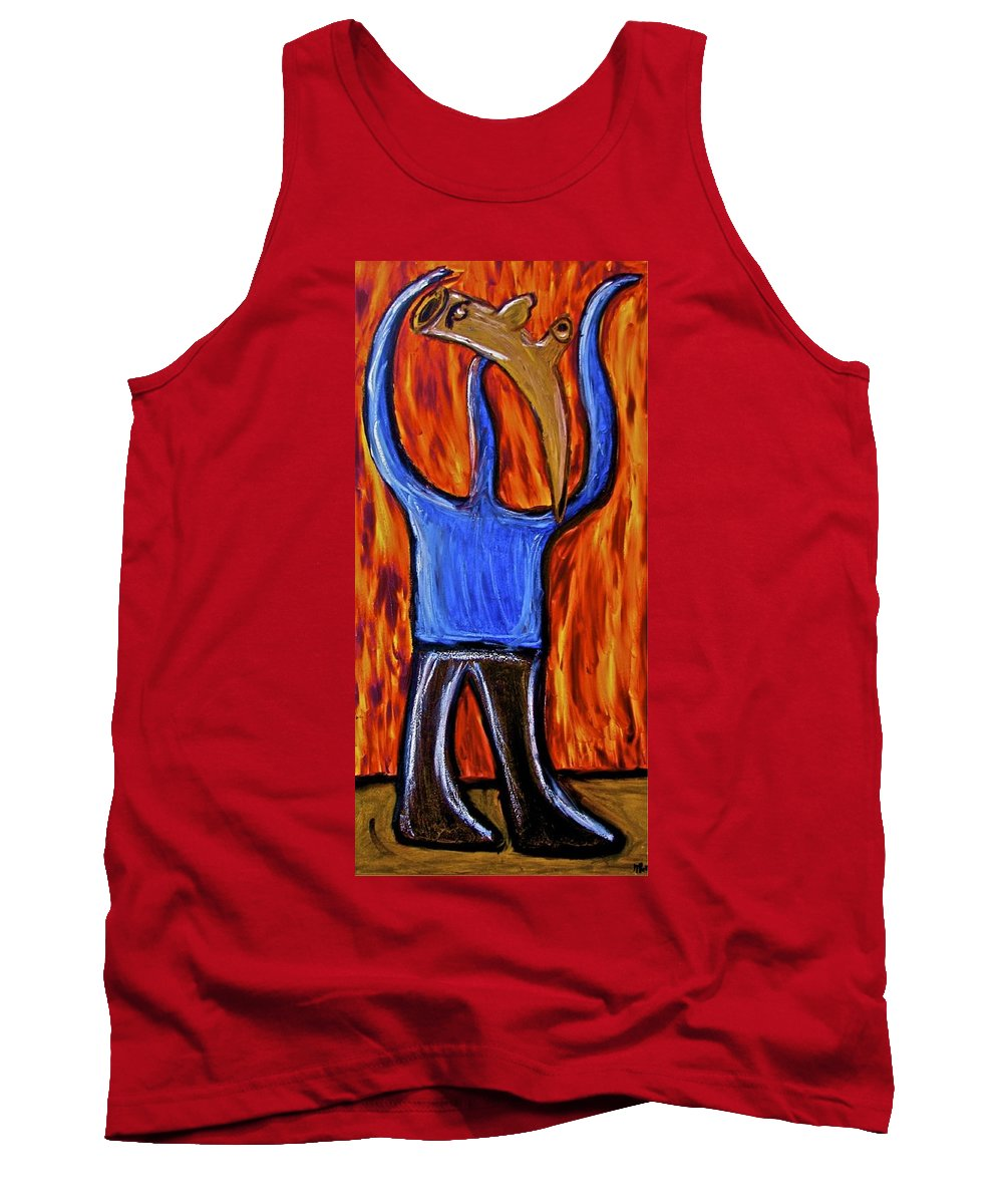 Figurative Tank Top featuring the painting Happiness 12-002 by Mario MJ Perron