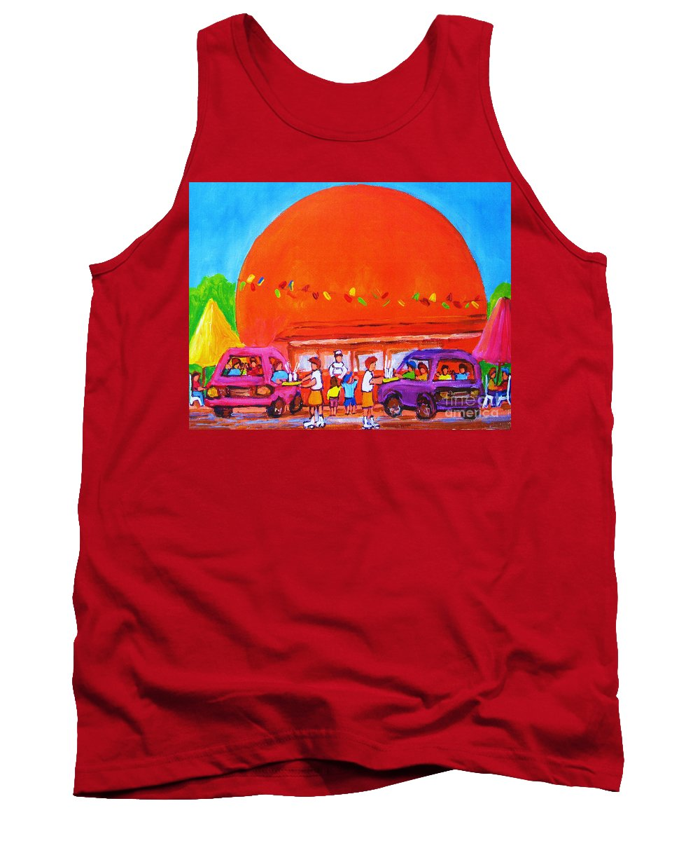 Montreal Tank Top featuring the painting Happy Days At The Big Orange by Carole Spandau