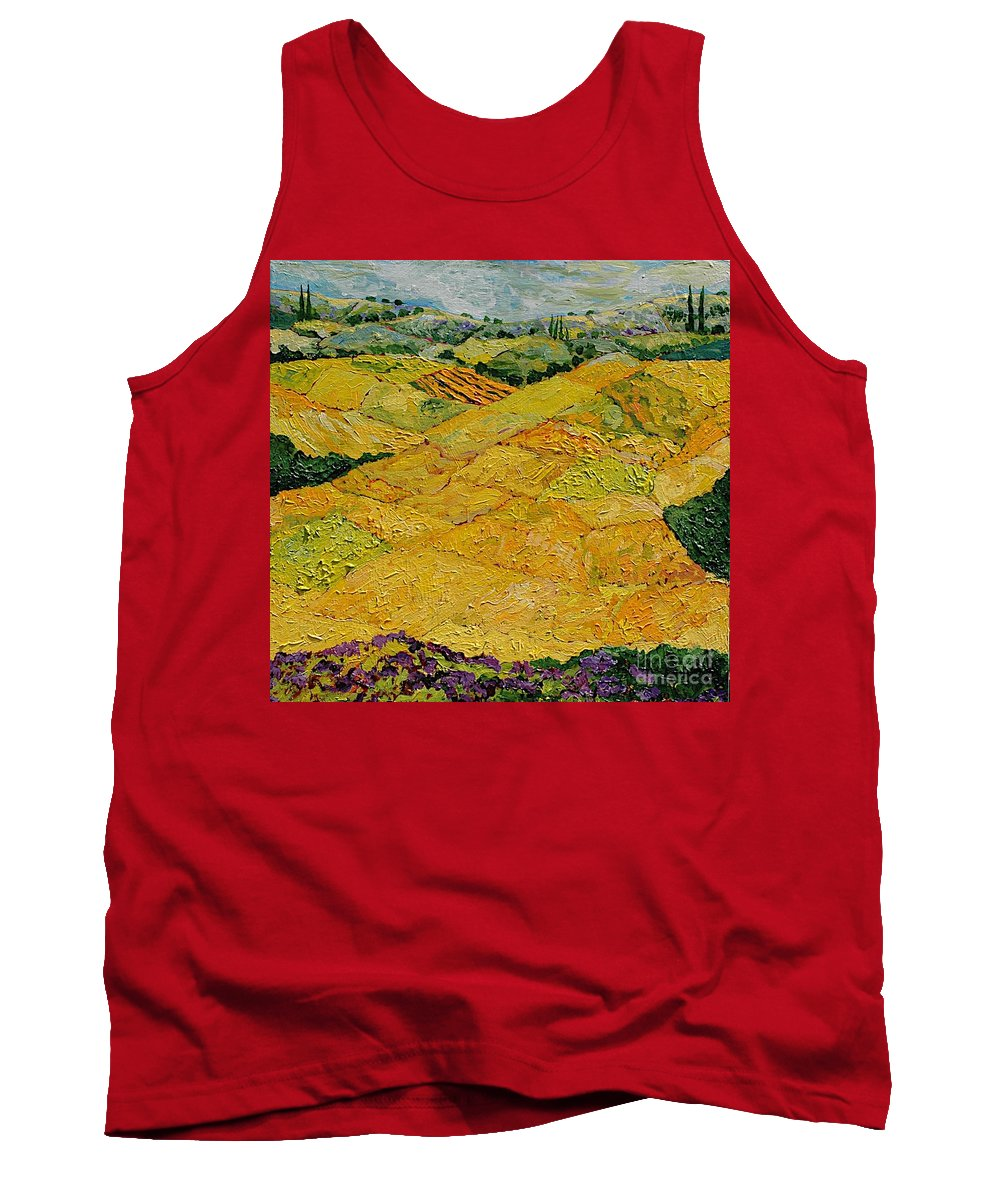 Landscape Tank Top featuring the painting Harvest Joy by Allan P Friedlander