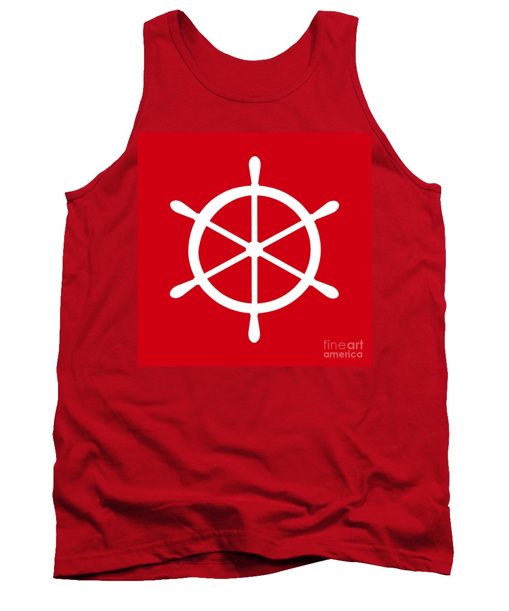 Graphic Art Tank Top featuring the digital art Helm In White And Red by Jackie Farnsworth