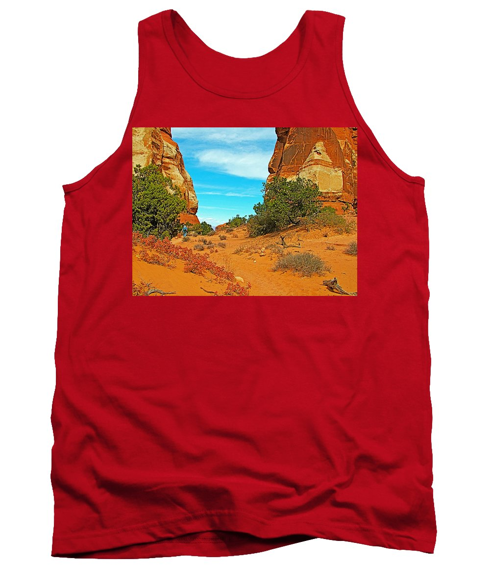 Hiking Between Massive Needles In Needles District Of Canyonlands National Park Tank Top featuring the photograph Hiking Between Massive Needles In Needles District Of Canyonlands National Park-utah by Ruth Hager