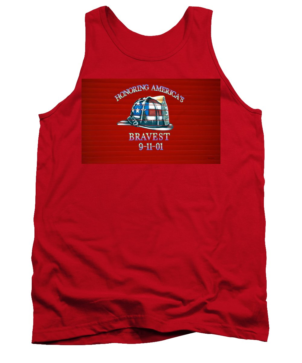 Fireman Tank Top featuring the photograph Honoring Americas Bravest From Sept 11 by Thomas Woolworth