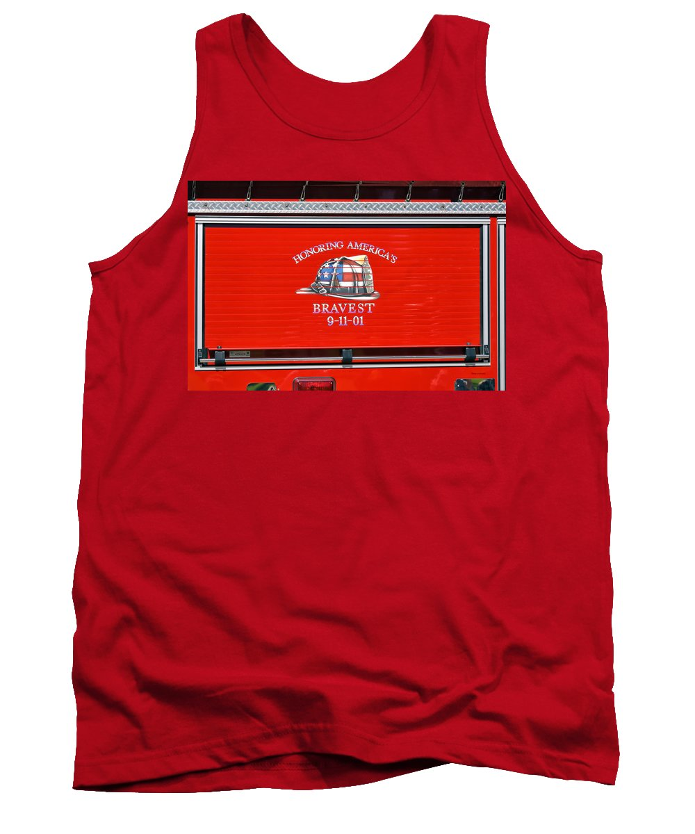 Fireman Tank Top featuring the photograph Honoring Americas Bravest Sept 11 by Thomas Woolworth