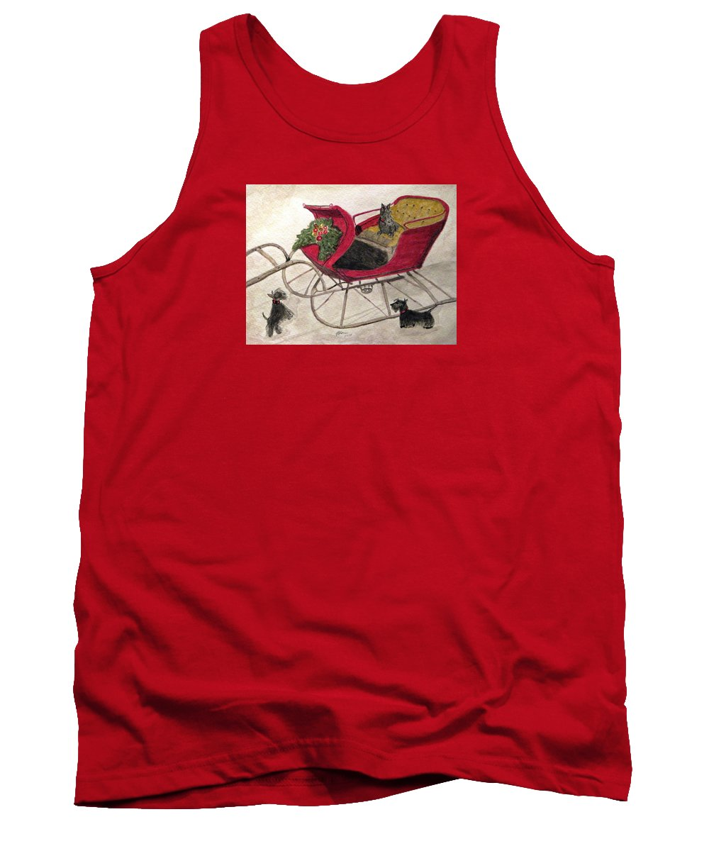 Scotties Tank Top featuring the painting Hoping For A Sleigh Ride by Angela Davies