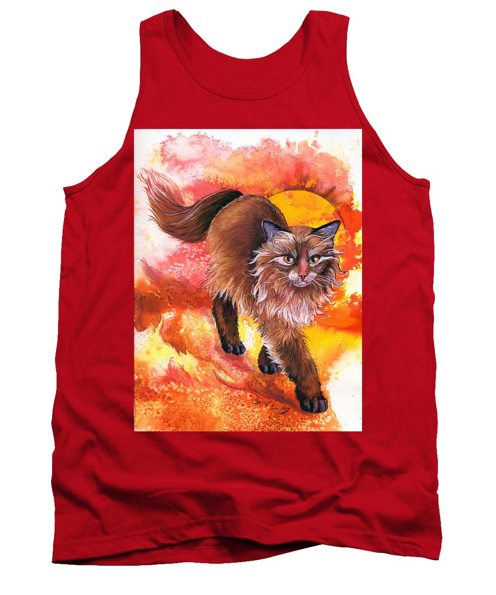 Cat. Kitty Tank Top featuring the painting Hot Stuff by Sherry Shipley