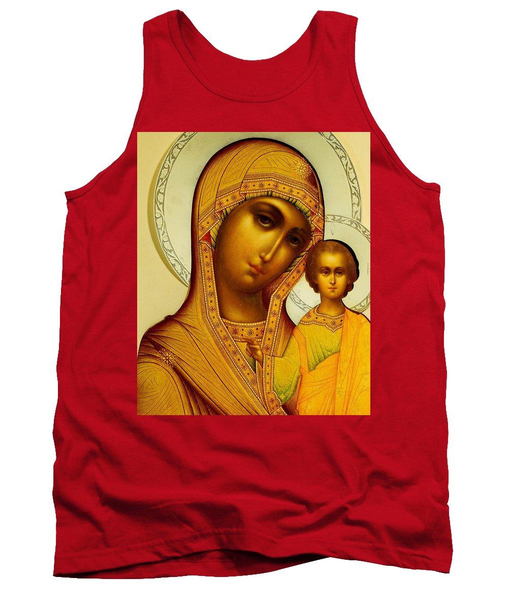 Virgin Mary; Madonna; Infant Christ; Jesus Christ; Ornate; Russian Orthodox Tank Top featuring the painting Icon Of The Virgin Kazanskaya by Dmitrii Smirnov