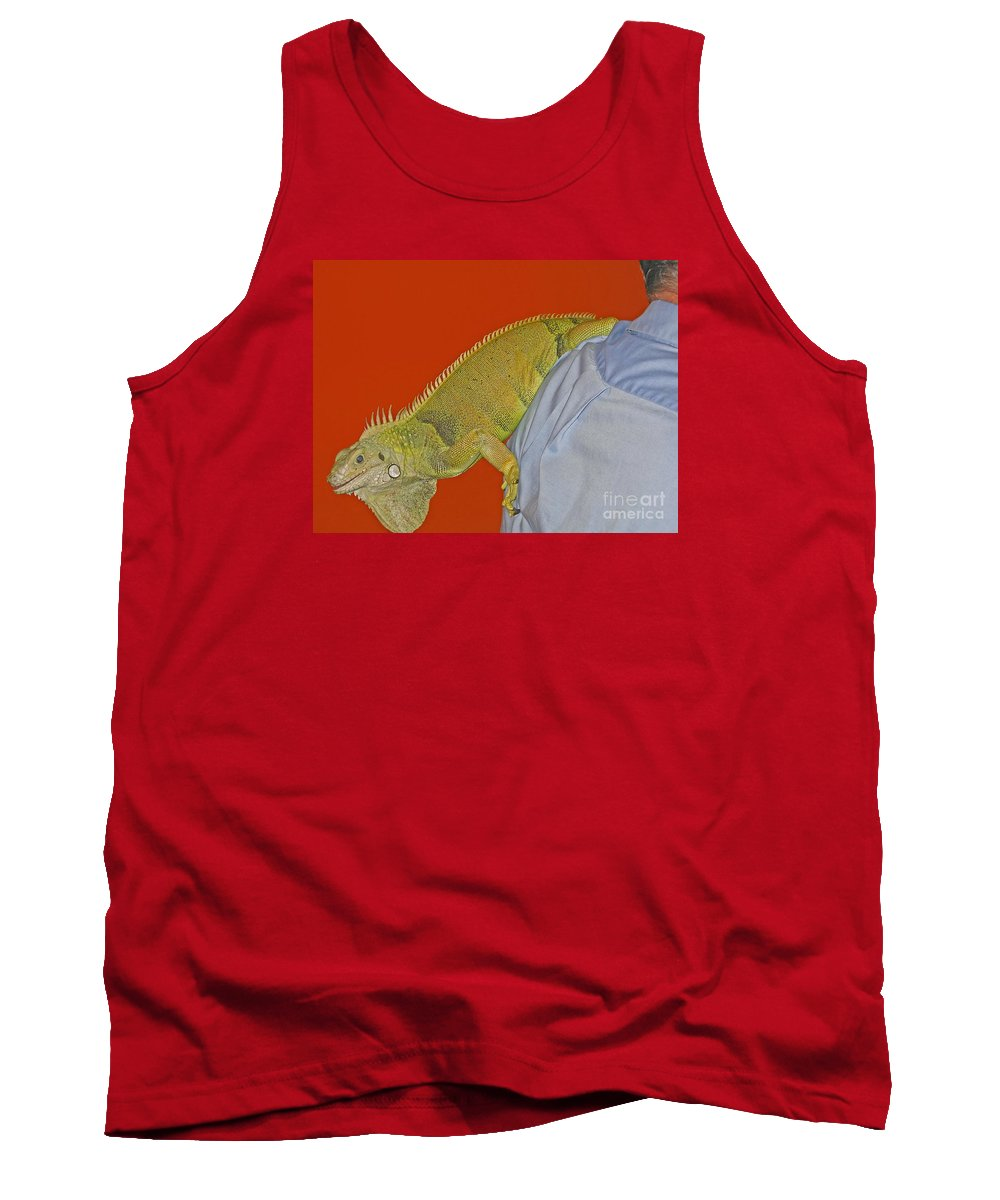 Iguana Tank Top featuring the photograph Iguana By The Tail by Ann Horn