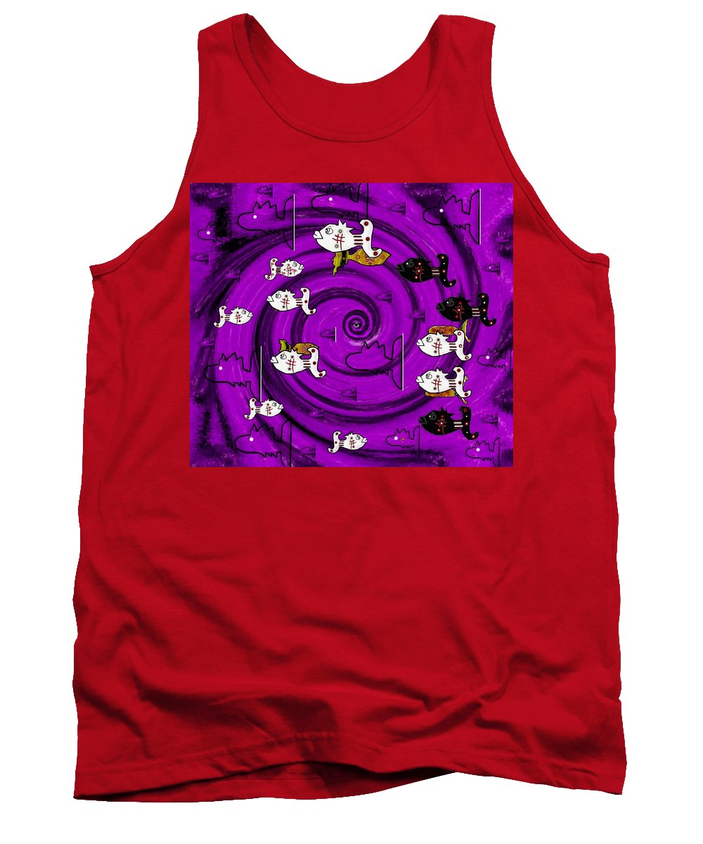Fishes Tank Top featuring the mixed media In The Eye Of The Hurricane by Pepita Selles