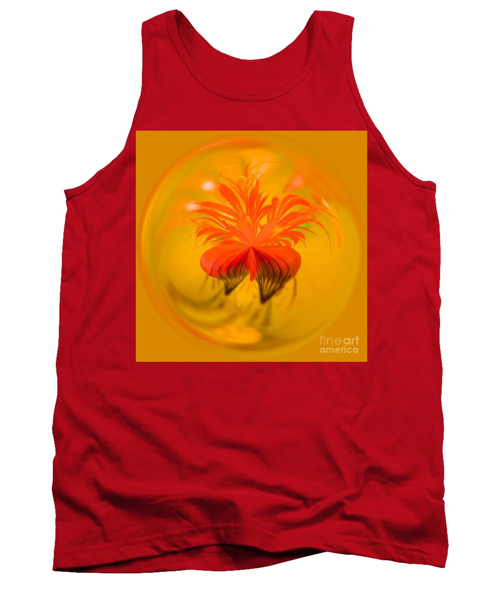 Bloom Tank Top featuring the photograph Inside Out Nasturtium by Anne Gilbert