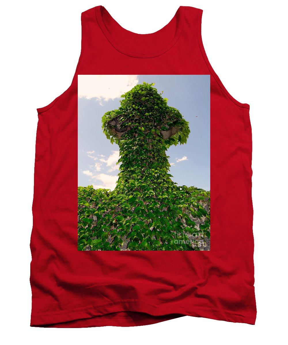 Abstract Tank Top featuring the photograph Ivy Covered Cross by Ed Weidman