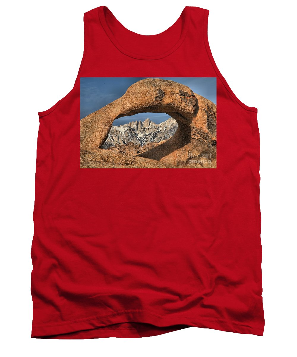 Mobius Arch Tank Top featuring the photograph Jagged Peaks Through Mobius by Adam Jewell