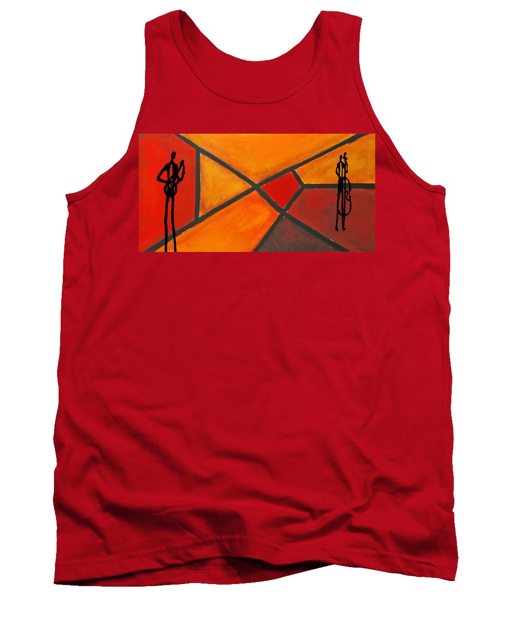 Jazz Tank Top featuring the drawing Jazz Duet 2 by Rhodes Rumsey