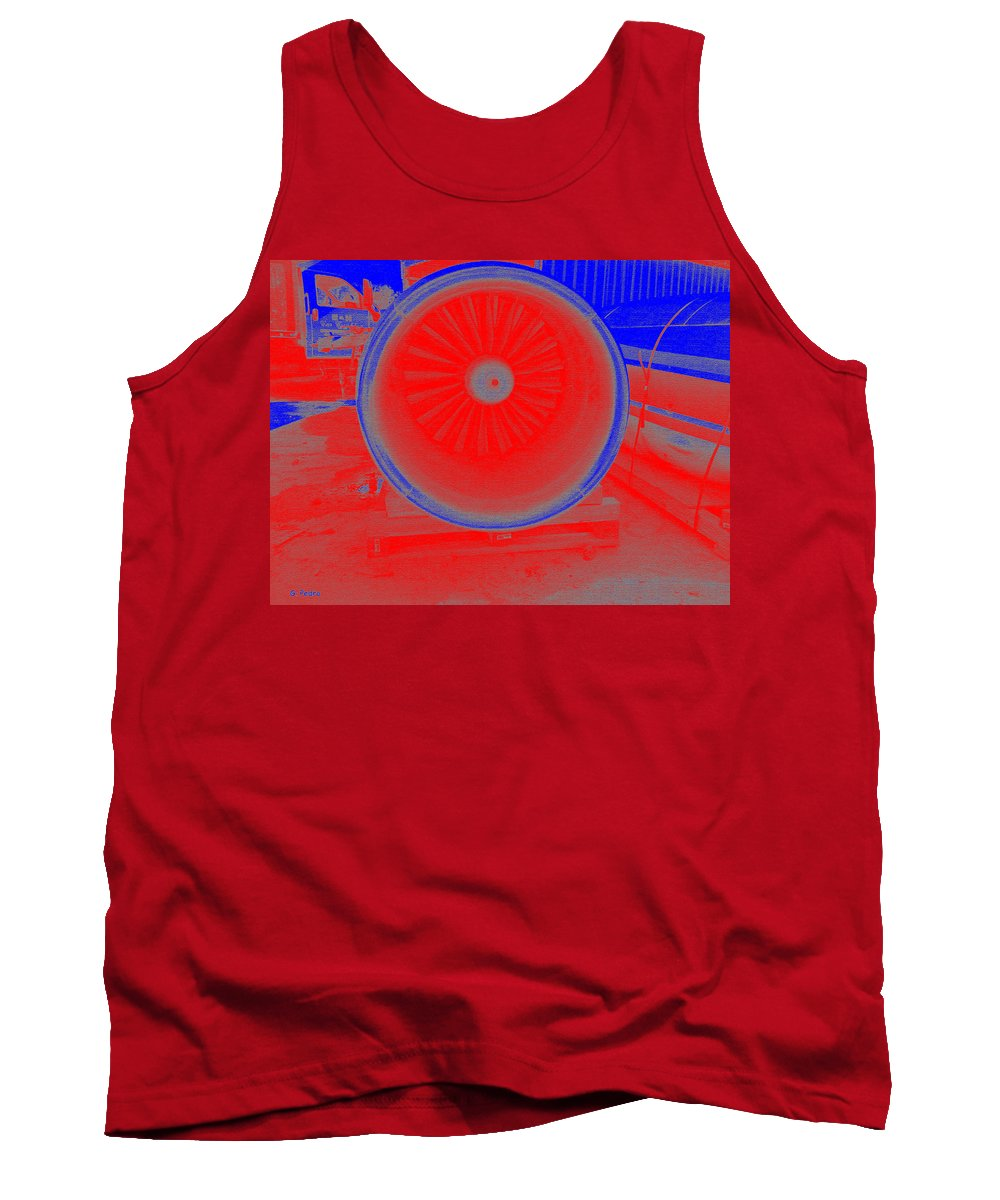 Jet Tank Top featuring the painting Jet Engine 3 by George Pedro