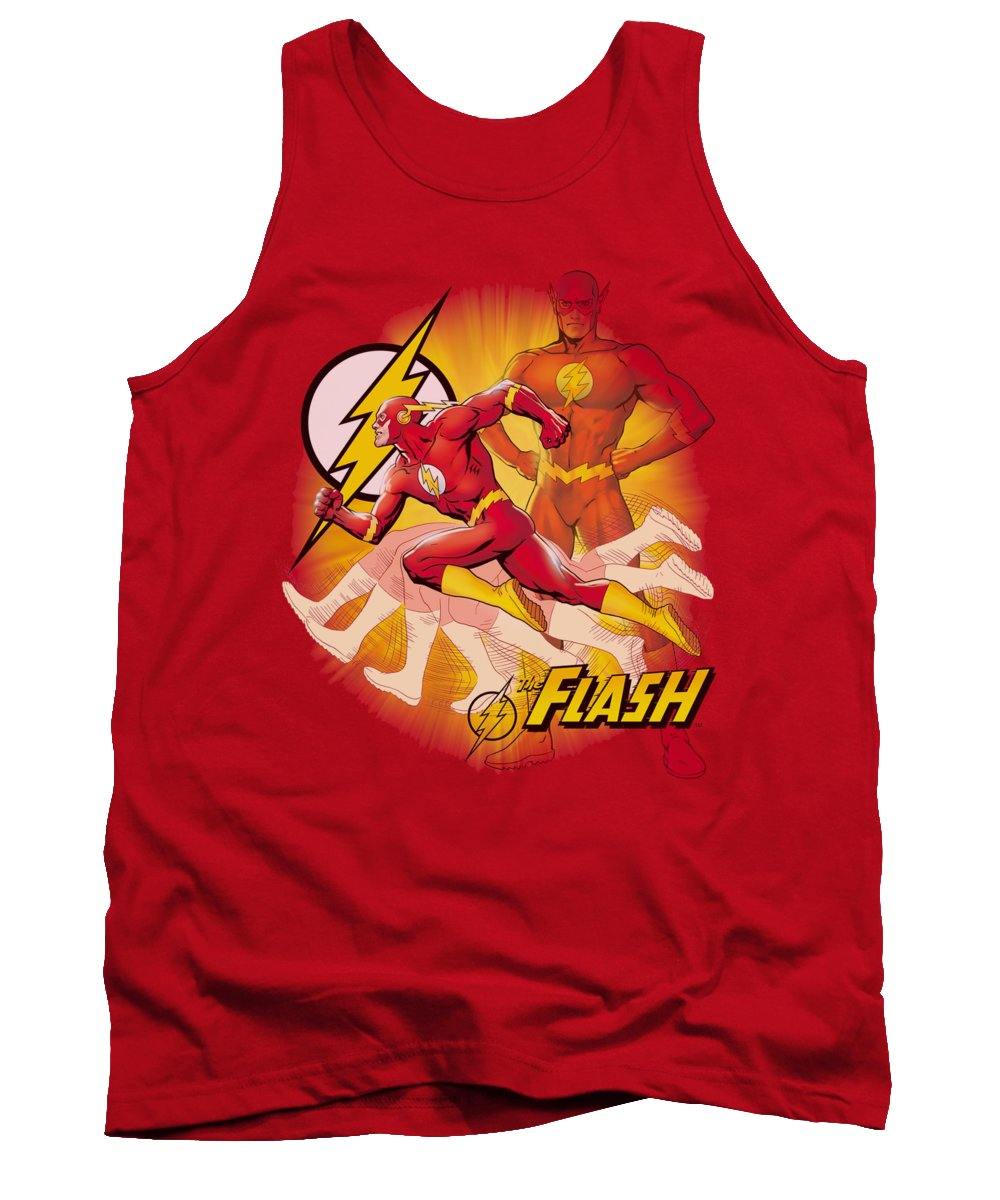 Justice League Of America Tank Top featuring the digital art Jla - Lightning Fast by Brand A