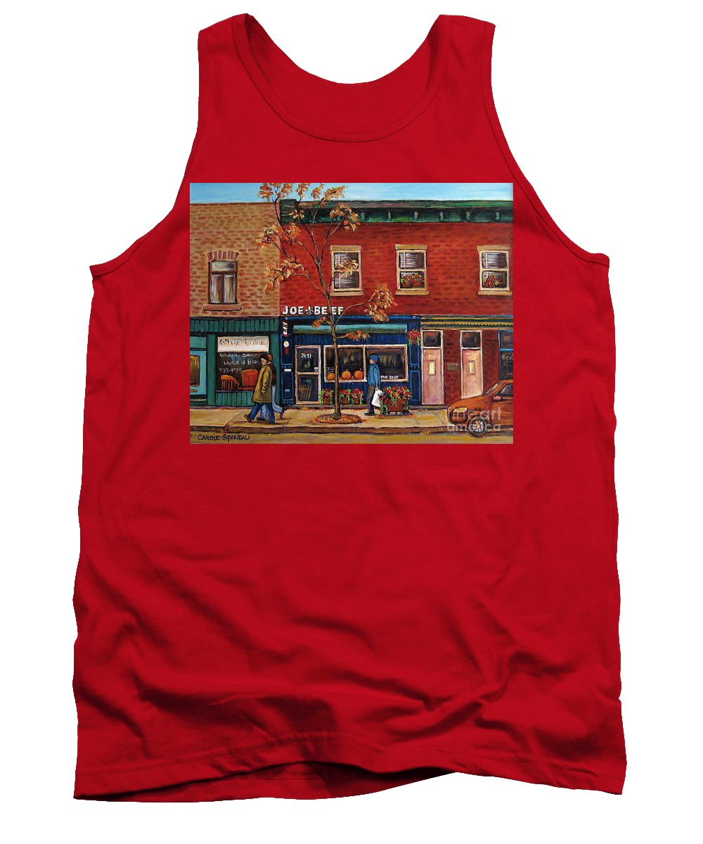 Montreal Tank Top featuring the painting Joe Beef Restaurant Montreal by Carole Spandau