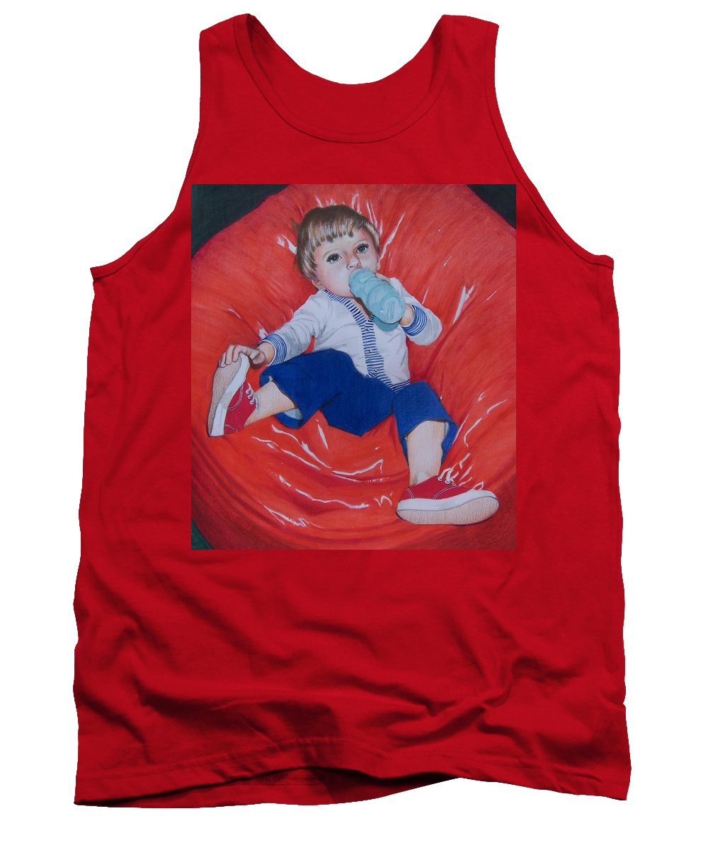 Boy Tank Top featuring the mixed media Joey by Constance Drescher