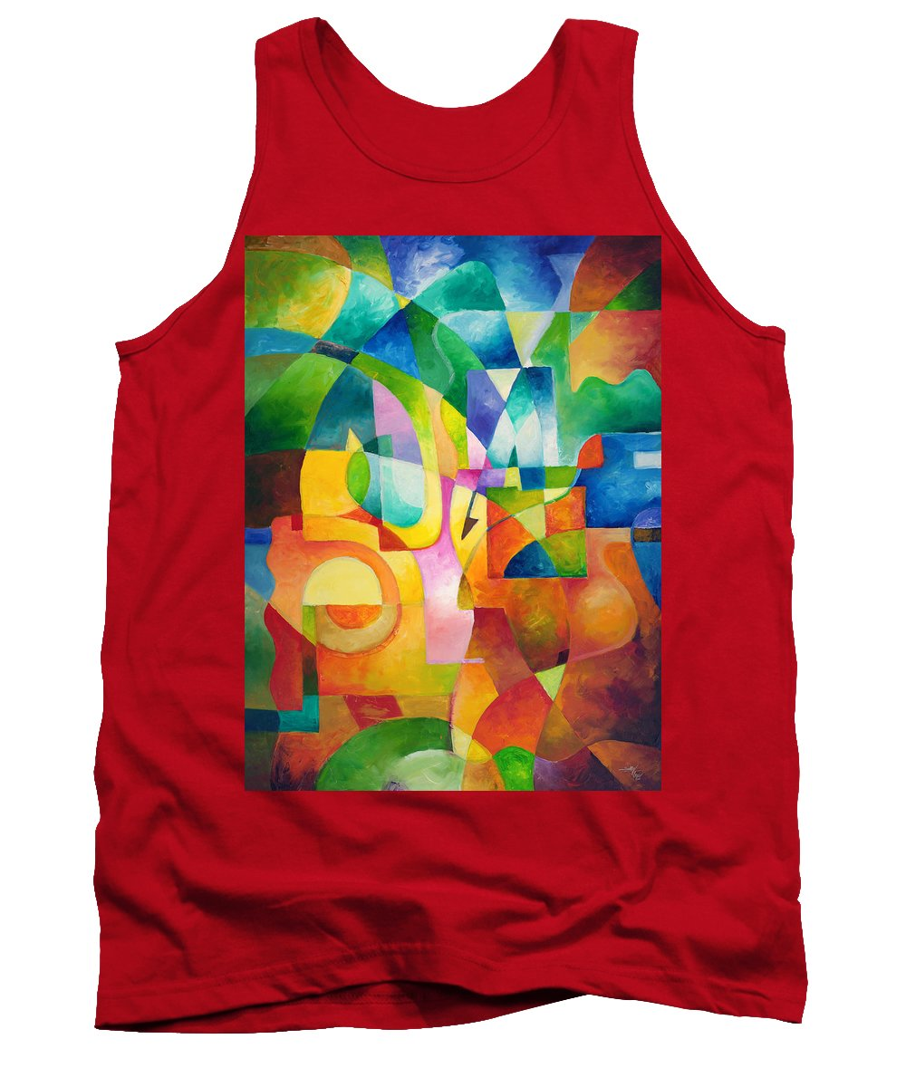 Abstract Tank Top featuring the painting Just Outside by Sally Trace