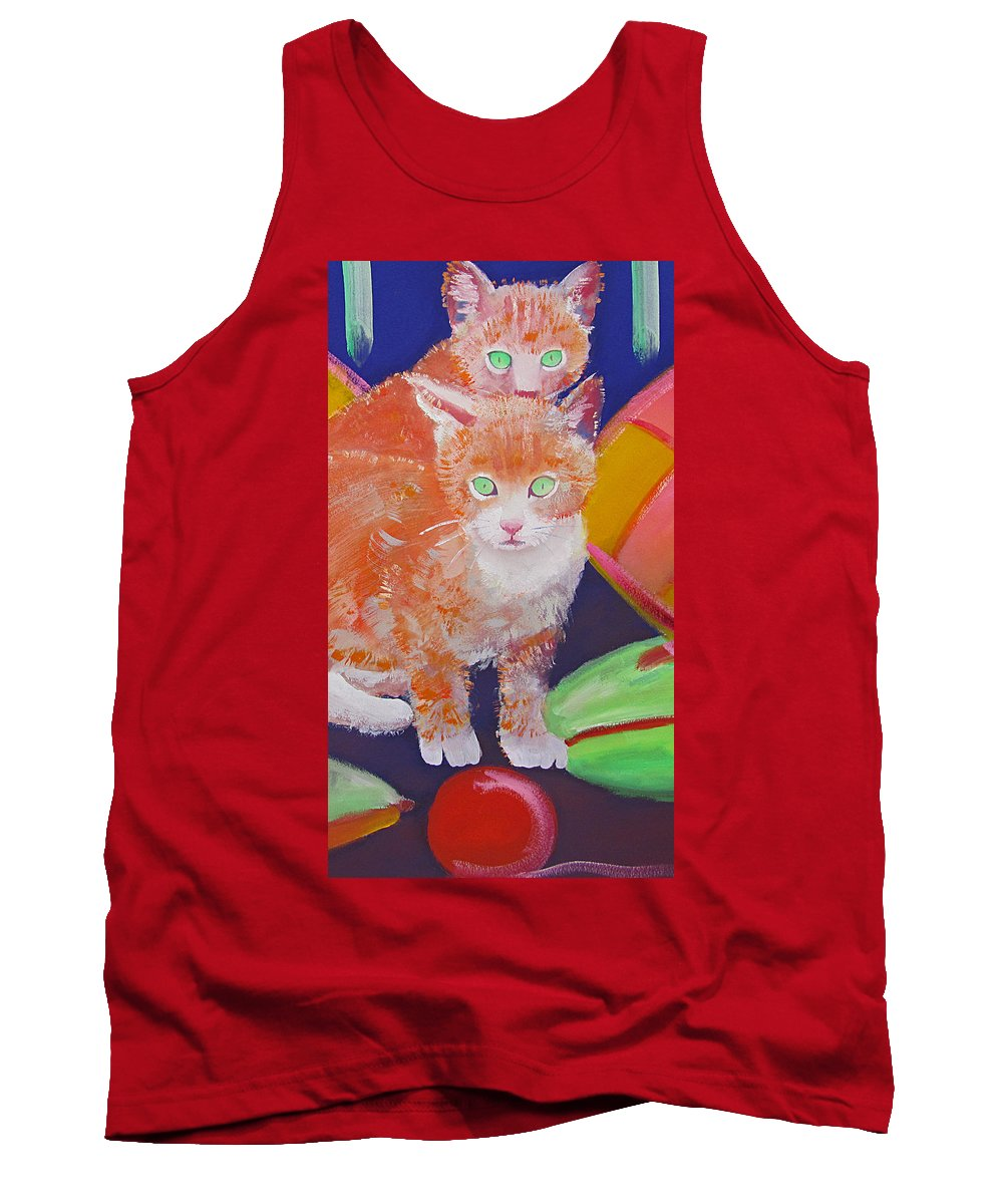 Kittens Tank Top featuring the painting kittens With A Ball of Wool by Charles Stuart