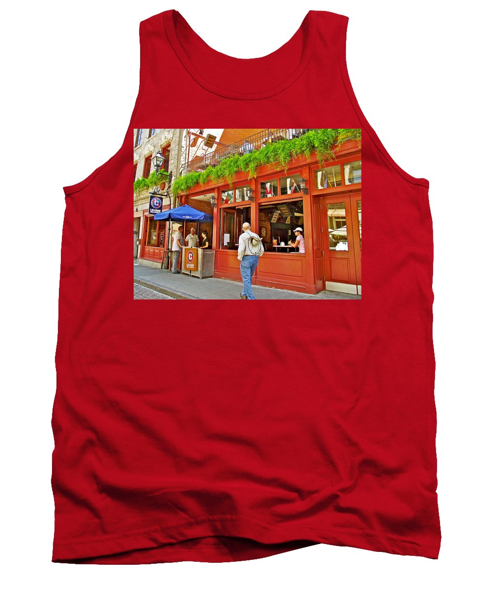La Cage Aux Sports In Old Montreal Tank Top featuring the photograph La Cage Aux Sports In Old Montreal-quebec by Ruth Hager