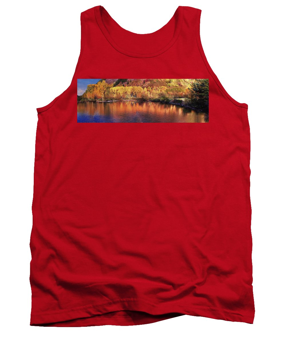 Mountain Tank Top featuring the photograph Lake Reflection In Fall 2 by OLena Art Brand