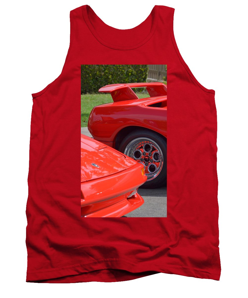 Tank Top featuring the photograph Lamborghini And Lotus by Dean Ferreira
