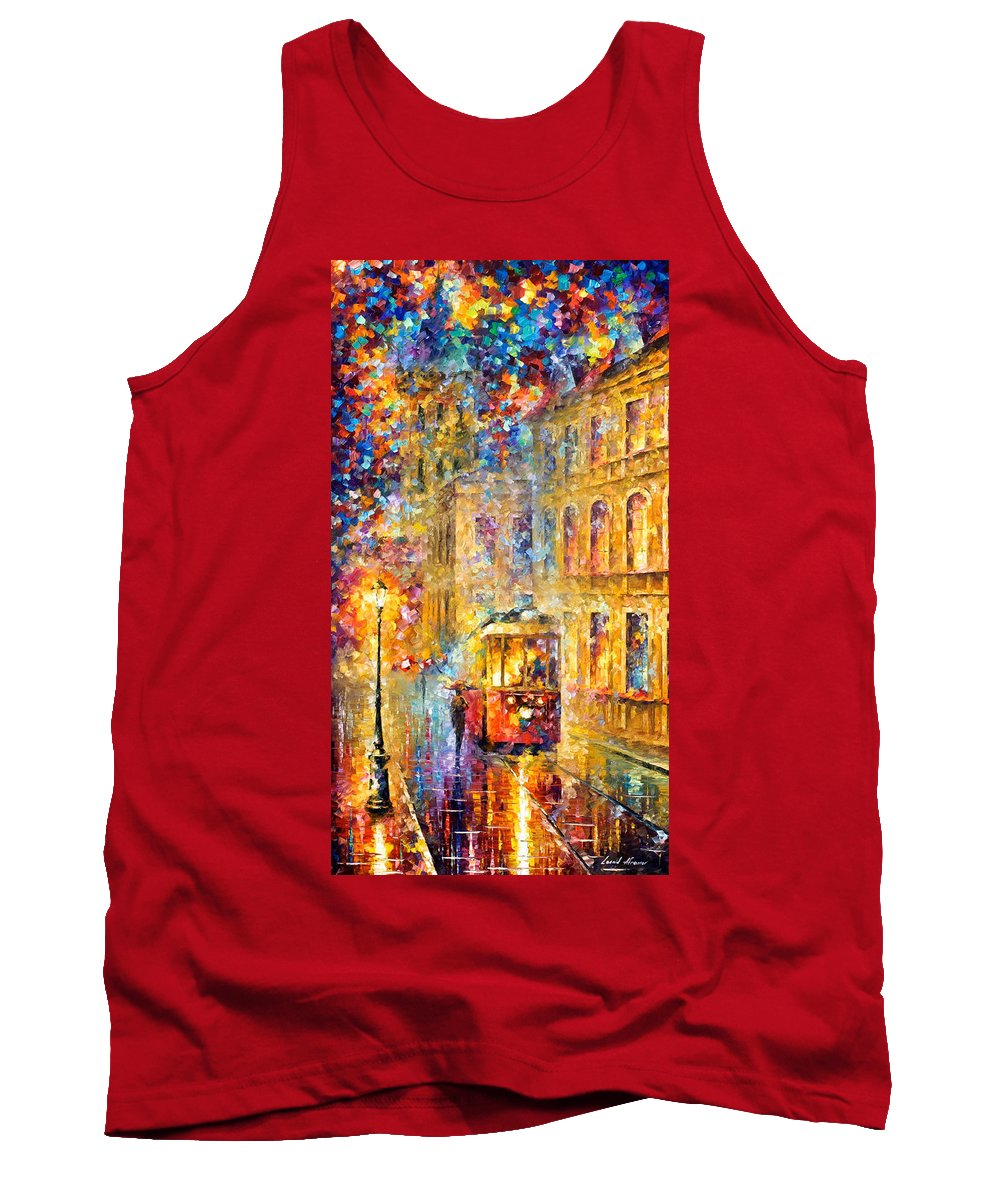 Art Gallery Tank Top featuring the painting Last Trolley - Palette Knife Oil Painting On Canvas By Leonid Afremov by Leonid Afremov