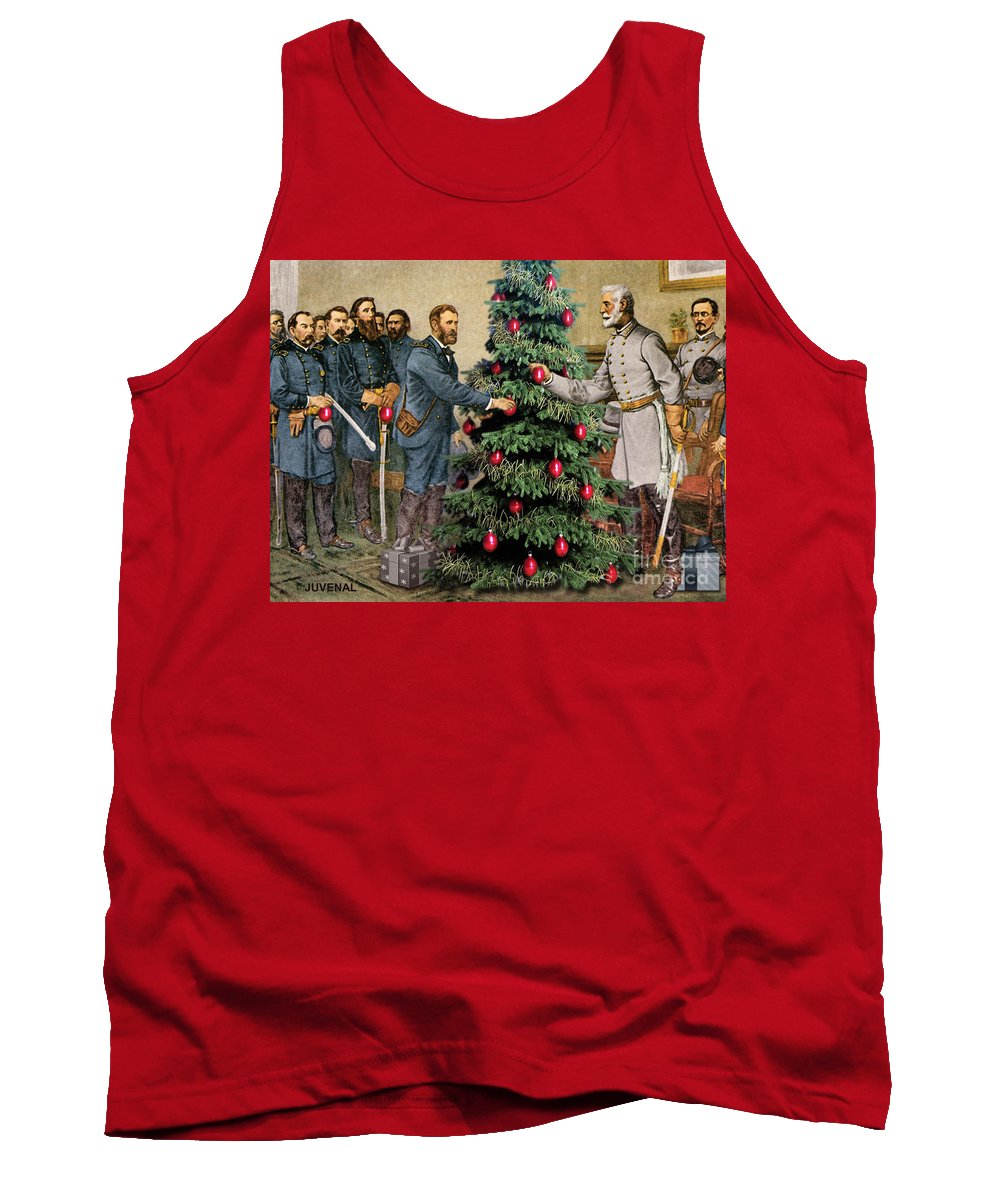 Canvas Prints Tank Top featuring the digital art Lee And Grant At Appomattox by Joseph Juvenal