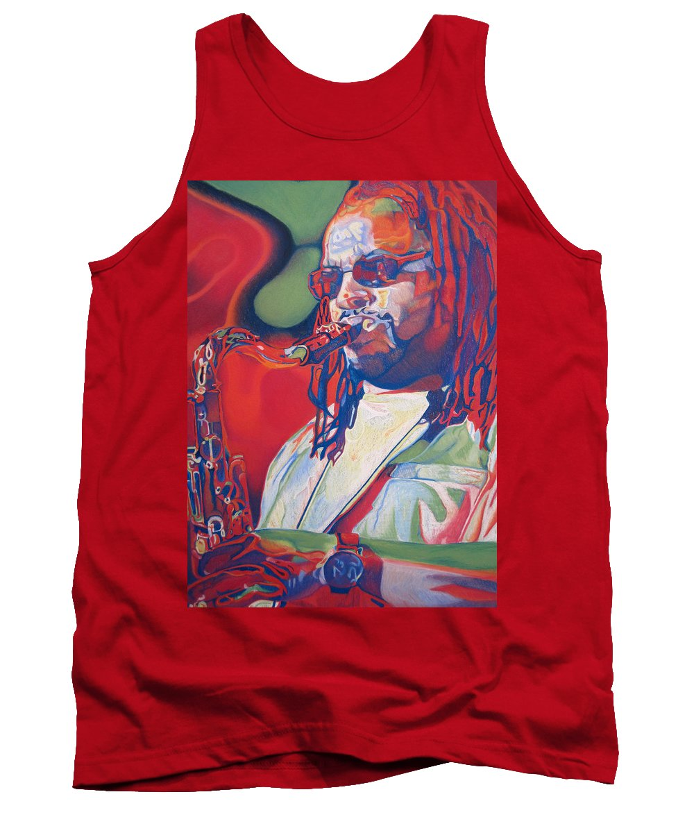 Leroi Moore Tank Top featuring the drawing Leroi Moore Colorful Full Band Series by Joshua Morton